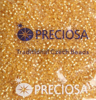 Бисер №17020, №10, Preciosa (Чехия), светло-янтарный блестящий матовый, прозрачный