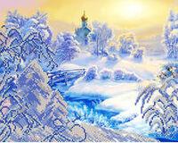 Зима, АК3-109 схема-рисунок на атласе для вышивки бисером частичная вышивка