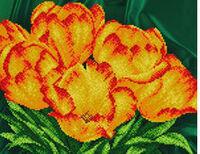 Тюльпаны, АК3-121 схема-рисунок полноцветная на атласе для частичного вышивания бисером формат А-3