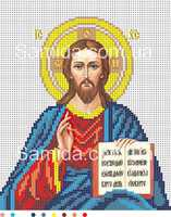 Господь Вседержитель (венчальная икона) А4-И4 схема с рисунком для полной вышивки бисером №10 на габардине