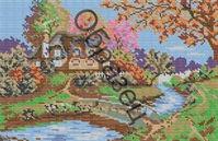 Осень в деревне, К-25 схема для полной вышивки бисером на габардине