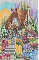 Домик в лесу,К-27 схема-рисунок на габардине для вышивки бисером №10, формат А-3