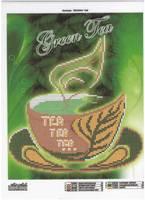 Чашка зелёного чая, VKA044 схема-рисунок на габардине для частичной вышивки бисером