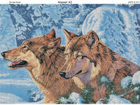 Зимние Волки, К-231 схема-рисунок для вышивки бисером на габардине формат А-3