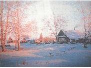 Зимний пейзаж, К-13 схема для полной вышивки бисером на габардине формат А-3