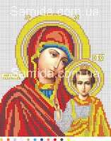 Казанская Божия Матерь (венчальная икона) А4-И3 схема с рисунком для полной вышивки бисером №10 на габардине