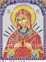 Божия Матерь Семистрельная схема с рисунком для полной вышивки бисером на габардине А4-И10