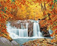 Осенний водопад, АКЗ-047 схема-рисунок полноцветная на атласе для частичного вышивания бисером