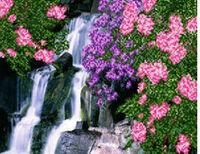 Летний водопад, АК4-128 схема-рисунок полноцветная на атласе для частичного вышивания бисером