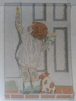 Девочка и собака, ЗК-011 схема с рисуноком для полного вышивания бисером (нитками DMC) на габардине