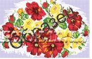 Красные маки, К-137 схема-рисунок для полной вышивки бисером на габардине формат А-3