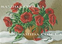 Летние маки в вазе, А3-26 схема для полного вышивания бисером на габардине