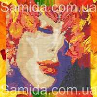 Девушка осень ..., А3-31 схема-рисунок для вышивки бисером на габардине формат А-3