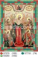 """Икона Божьей Матери """"Скорбящих радость"""" схема вышивания бисером на ткани"""