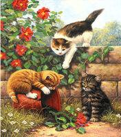 Разбойники котята, РКП-133 схема - рисунок для вышивки бисером на атласе формат А-3