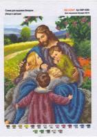 БКР-4260 - Иисус с детьми схема с рисунком для частичной вышивки бисером №10 на габардине