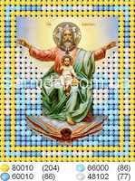 Святое Семейство схема для частичного вышивания бисером на ткани