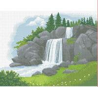Водопад, СКВ-54 схема-рисунок полноцветная на атласе для частичного вышивания бисером