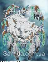 Ловец снов. Волки, А3-12 схема-рисунок полноцветная на габардине для частичного вышивания бисером