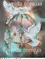 Ловец снов. Голуби, А3-13 схема с рисунком для частичной вышивки бисером формат на габардине А-3
