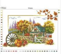 Осень пейзаж, ТП 014 схема-рисунок для вышивки бисером на атласе
