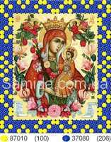 """Икона Божьей Матери """"Неувядаемый цвет"""" схема с рисунком для частичной вышивки бисером"""