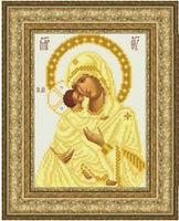 Божия Матерь Владимирская ТО 057 схема с рисунком на атласе для частичной вышивки бисером