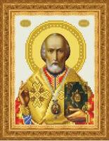 Святой Николай Чудотворец ТО 068 схема с рисунком на атласе для частичной вышивки бисером