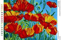 Красная красота Маки, БА3-160 схема-рисунок полноцветная на габардине для частичного вышивания бисером
