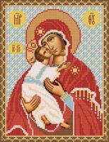 Богородица Владимирская, РИП-004 схема-рисунок на атласе для частичной вышивки бисером