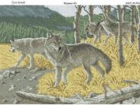 Стая волков, Ж- 004 схема-рисунок на габардине для вышивки бисером формат А-3