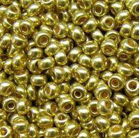Бисер №01720, №10, Preciosa (Чехия), оливково-золотой метализированный, непрозрачный