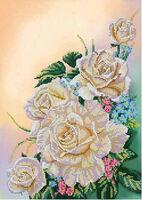 Белые розы МикаА-034 схема с рисунком на габардине для вышивки бисером