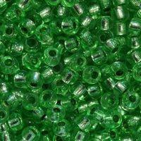 Бисер №08256, №10, Preciosa (Чехия), зелёный, полупрозрачный кристальный