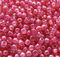 Бисер №11028, №10, Preciosa (Чехия), розово-малиновый прокрашенный, прозрачный