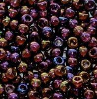 Бисер №11140, №10, Preciosa (Чехия), сиренево-коричнево-янтарный, полупрозрачный,радужный