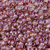 Бисер № 11323,№10, Preciosa(Чехия),кораллово-фиолетовый с жёлтым отливом, прозрачный