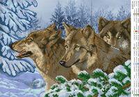 Волки, ЮМА-3140 схема-рисунок на атласе для вышивки бисером формат А-3