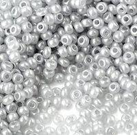 Бисер №17708, №10, Preciosa (Чехия), серый светлый жемчужный, непрозрачный