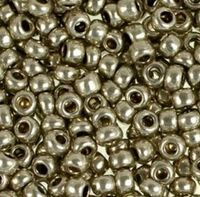 Бисер №18141, №10, Preciosa (Чехия), металлик серый, непрозрачный