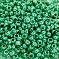 Бисер №18358, №10, Preciosa (Чехия), бирюзово-зеленый, металлизированный