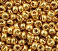 Бисер №18383, №10, Preciosa (Чехия), желтый, металлизированный