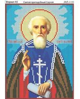 Святой преподобный Сергей, И-196 схема с рисунком для вышивания бисером на габардине