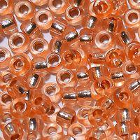 Бисер №78184,№10, Preciosa (Чехия)песочно-персиковый с серебренной серединкой, прозрачный