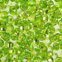Бисер №57220, №10, Preciosa (Чехия), салатово-зелёный блестящий, полупрозрачный