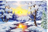 Зимний пейзаж ЮМА-3150 схема с рисунком на атласе для частичной вышивки бисером