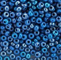 Бисер №34210, №10, Preciosa (Чехия), синий жемчужный радужный, непрозрачный
