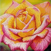Жёлтая роза МикаА-362 схема с рисунком на габардине для вышивки бисером №10
