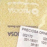 Бисер № 38181,№10, Preciosa(Чехия), светло-жёлтый прокрашенный, прозрачный