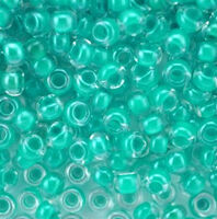 Бисер №38658, №10, Preciosa (Чехия), лазурно-зелёный прокрашенный, прозрачный
